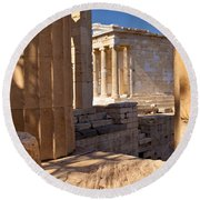 Acropolis Temple Round Beach Towel