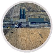 Across The Berkeley Pit Viewing  Round Beach Towel