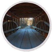 Across The Bridge And Through The Woods Round Beach Towel