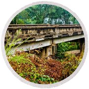 Across The Old Bridge Round Beach Towel