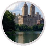 Across The Reservoir Round Beach Towel