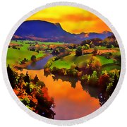 Across The Valley Round Beach Towel