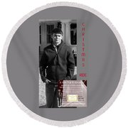 Actor In Christmas Ride Film Round Beach Towel