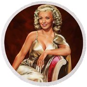 Actress Carole Landis Round Beach Towel