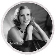 Actress Greta Garbo Round Beach Towel