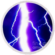 Actual Lightning In Zoom Image Round Beach Towel