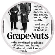 Ad Grape Nuts, 1919 Round Beach Towel