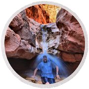 Adam Jewell At Capitol Reef Shower And Laundromat Round Beach Towel by Adam Jewell