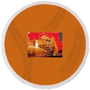 Adams Hotel Fire 1910 Phoenix Arizona 1910-2012 Round Beach Towel