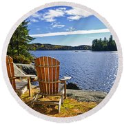 Adirondack Chairs At Lake Shore Round Beach Towel