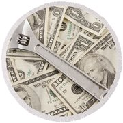 Adjustable Wrench On Pile Of Money Round Beach Towel