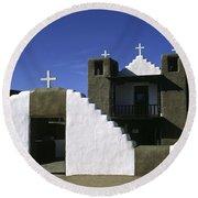 Adobe Church Taos Round Beach Towel