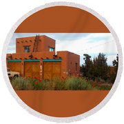 Adobe House And Poppies Round Beach Towel