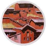 Adobe Village - Peru Impression II Round Beach Towel