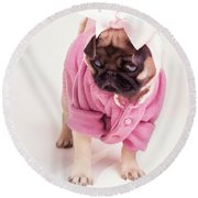 Adorable Pug Puppy In Pink Bow And Sweater Round Beach Towel