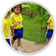 Adorable Sweethearts Welcoming Committee At Baan Konn Soong School In Sukhothai-thailand Round Beach Towel