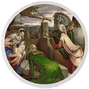 Adoration Of The Magi Round Beach Towel
