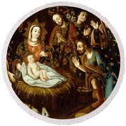 Adoration Of The Sheperds Round Beach Towel