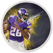 Adrian Peterson Round Beach Towel by Don Medina