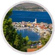 Adriatic Town Of Vinjerac Aerial View Round Beach Towel