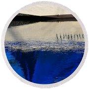 Adrift On The Deep Blue Round Beach Towel