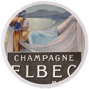 Advertisement For Champagne Delbeck Round Beach Towel by Louis Chalon