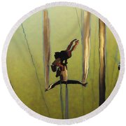 Aerial Acrobatic Artistry2  Round Beach Towel by Anne Mott
