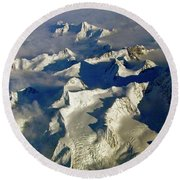 Aerial Ice Fields Round Beach Towel