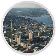 Aerial Image Of The Seattle Skyline  Round Beach Towel