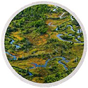 Aerial Of A Wetland, Over Northern Round Beach Towel