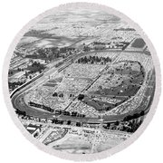 Aerial Of Indy 500 Round Beach Towel