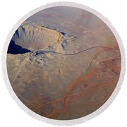 Aerial Of Meteor Crater Round Beach Towel