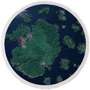 Aerial Of Small Island Village, Uganda Round Beach Towel