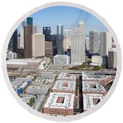 Aerial Of The Houston Skyline Round Beach Towel