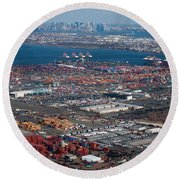 Aerial Over Newark And New Yourk Round Beach Towel