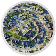 Aerial Pattern Of Residential Homes Round Beach Towel