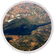 Aerial Photography - Hill Like A Big Mouse  Round Beach Towel