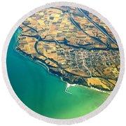 Aerial Photography - Italy Coast Round Beach Towel