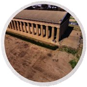 Aerial Photography Of The Parthenon Round Beach Towel