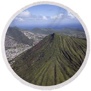 Aerial View Honolulu Hawaii Round Beach Towel