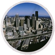 Aerial View Of A City, Seattle Round Beach Towel