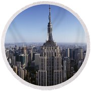 Aerial View Of A Cityscape, Empire Round Beach Towel