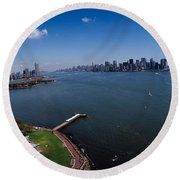 Aerial View Of A Statue, Statue Round Beach Towel