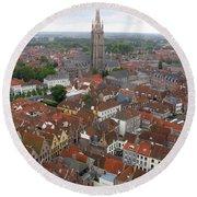 Aerial View Of Bruges Belgium Round Beach Towel
