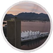 Aerial View Of Canada Place At Sunse Round Beach Towel