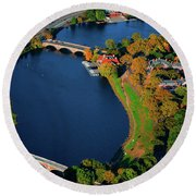 Aerial View Of Charles River With Views Round Beach Towel