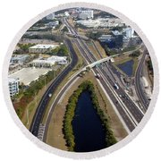 Aerial View Of City Of Tampa Round Beach Towel