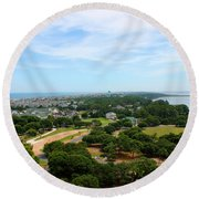 Aerial View Of Corolla North Carolina Outer Banks Obx Round Beach Towel by Design Turnpike