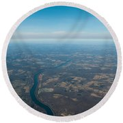 Aerial View Of Earth In Usa Round Beach Towel