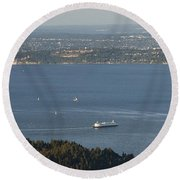 Aerial View Of Ferry Boats On Puget Sound Leaving Bainbridge Isl Round Beach Towel